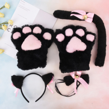 Cat Girls Plush Ear Bell Headband Tie Tail Paws Maid Fancy Dress Set Party Cosplay Fur Hair Clip Women Lady Hairbands