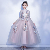 Teenage girls princess dress children piano costumes for girls little host dress formal wedding gowns lace party pageant dress