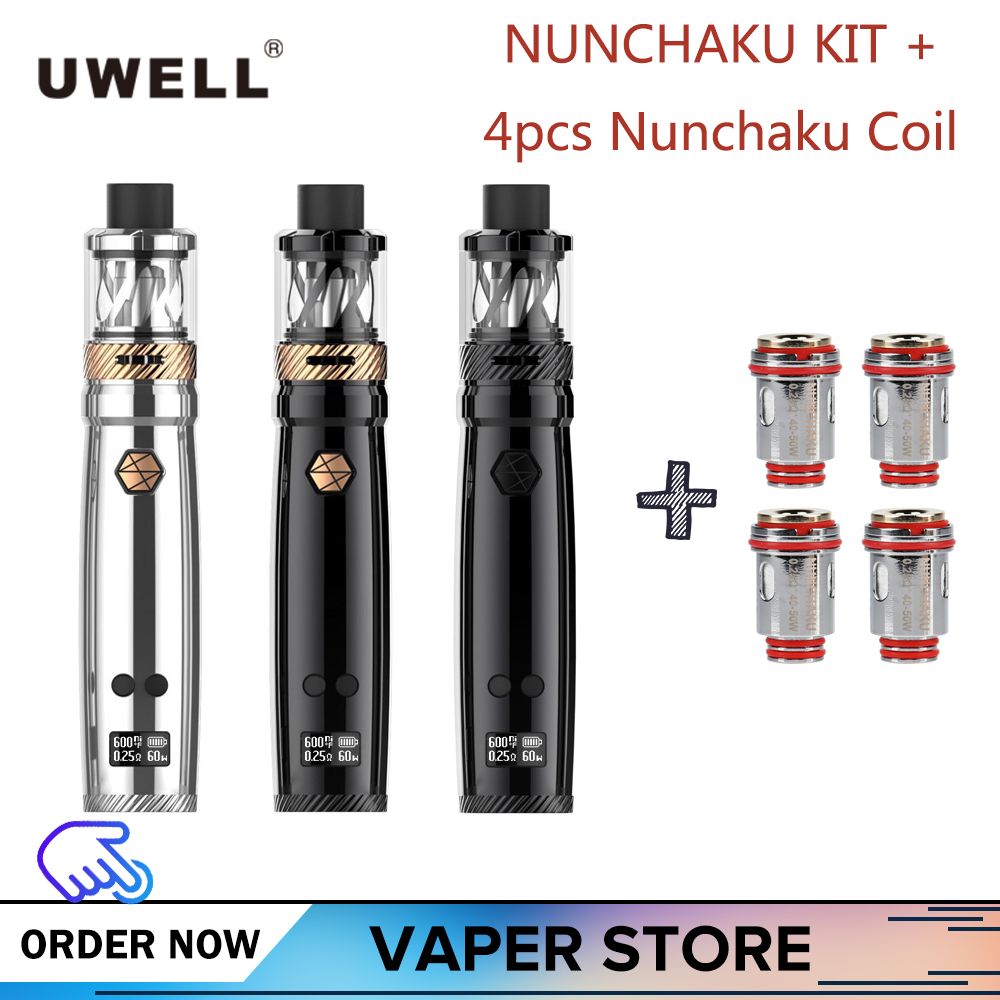 Original Uwell Nunchaku Kit Add 4pcs Replacement Coil With 5ml Tank Atomizer E-Cigarette Large Cloud 80W low wattage Vape Tank