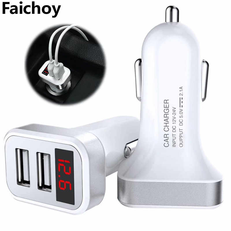 5V 2.1A 2 Dual USB Car Charger With LED Display Car Adapter Voltage Current Low Voltage Warning  for iphone 6 7 8 Cellphone Tabl