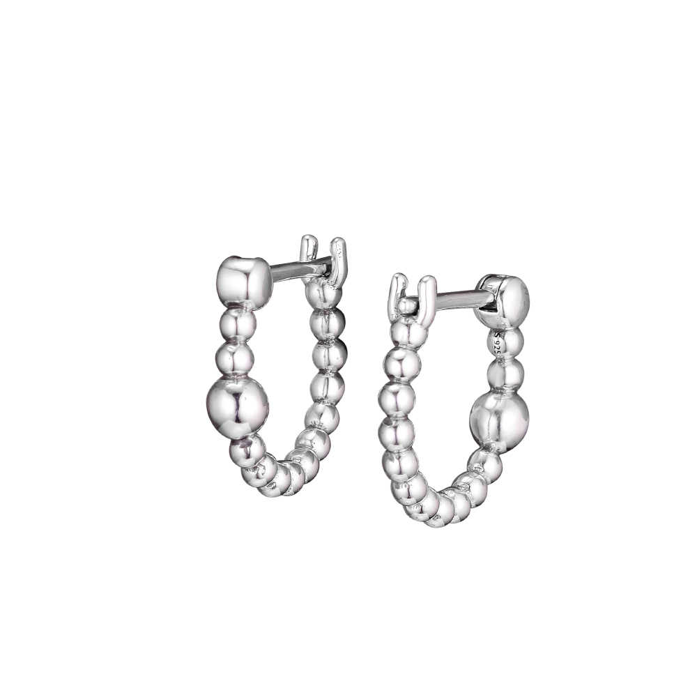 本物の 925 スターリングシルバー文字列のビーズフープイヤリングファッションイヤリング女性の Diy のジュエリーオリジナル卸売