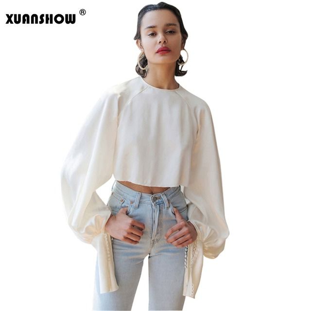 7d519fe891e857 XUANSHOW Female Crop Top Long Lantern Sleeve Vintage Women's T-Shirts White  Satin Silk Harajuku Solid Girl's Tee Camisa Feminina
