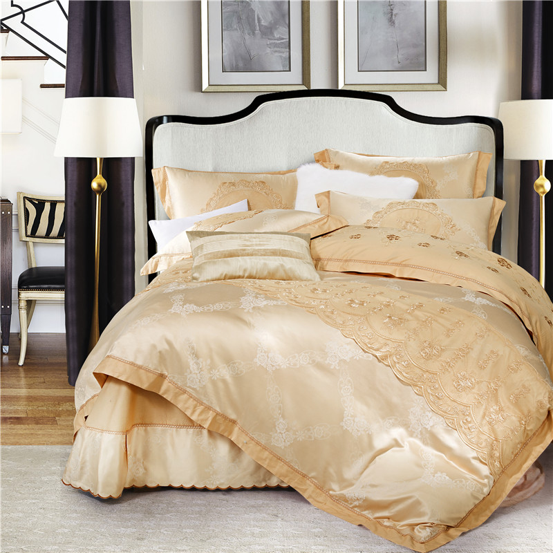 Stain Jacquard Lace King Queen Bedding set Korean style Luxury Wedding Bed set Duvet cover Cotton Cotton Bed sheet Pillowcase 28Stain Jacquard Lace King Queen Bedding set Korean style Luxury Wedding Bed set Duvet cover Cotton Cotton Bed sheet Pillowcase 28