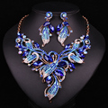 Fashion Bridal Gold Plated Crystal Dubai  Jewelry Sets Wedding Necklace Earring For Brides Party Accessories Gift For Women