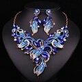 Moda Cristal Plateado del Oro de Dubai Sistemas de La Joyería Nupcial Collar Pendiente de La Boda Para Las Novias Partido Accesorios de Regalo Para Las Mujeres