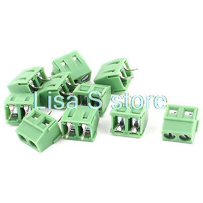 10Pcs 5.0mm Pitch 2 Pins PCB Screw Terminal Blocks Connectors 300V/12A