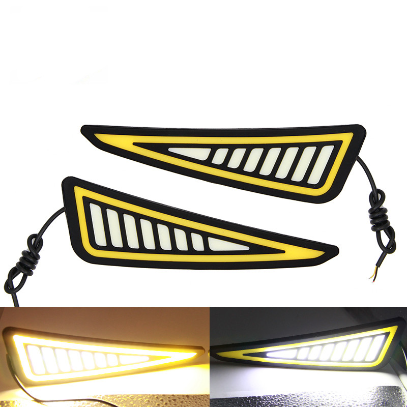 1 Pair Car DRL Daytime Running Light Flexible LED Fog Lamp Super Bright Auto Turn Signal Lamps Reversing Light COB Waterproof auto super bright 3w white eagle eye daytime running fog light lamp bulbs 12v lights car light auto car styling oc 25