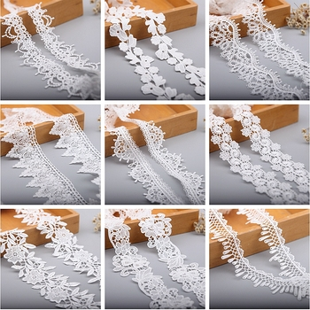 2Yard/Lot Lace Ribbon White Fabric Polyester Garment Accessories Clothes Trimmings 19527
