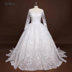 Роскошное бальное платье принцессы с длинными рукавами, свадебное платье с королевским шлейфом, кружевное свадебное платье, es 2017, Vestido De Noiva