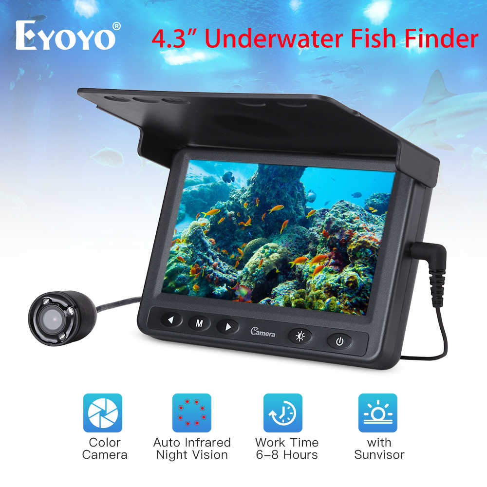 "Eyoyo 4.3"" Inch LCD Monitor 15M Fish Finder Waterproof Underwater Fishing Camera for Ice fishing"