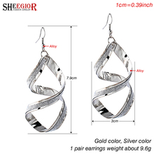 Brand Long Earrings for Women Lovely Gold/Silver plated Drop Earring Alloy Big Rotating Earings Fashion Jewelry Accessories Gift