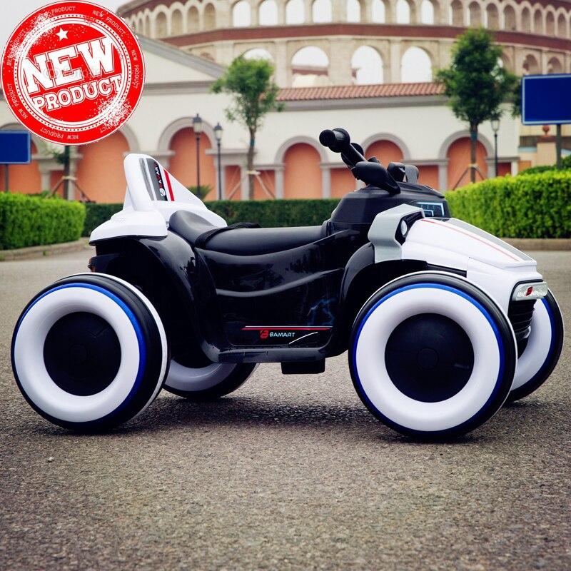 2018 Детский Электрический автомобиль rideable светящийся четырехколесный мотоцикл с пультом дистанционного управления можно кататься по бездо...