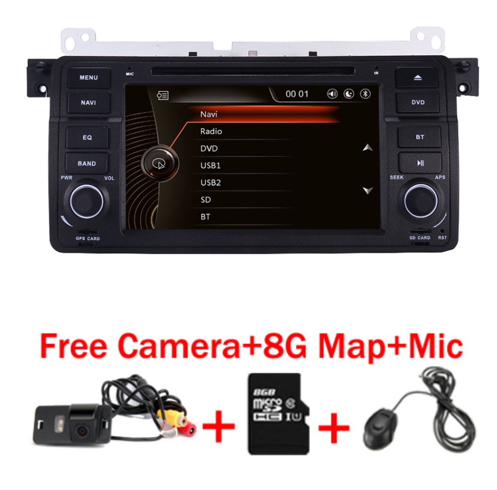 Factory Price 2 Din Car DVD Player for BMW E46 M3 With GPS Bluetooth Radio RDS USB Steering wheel Canbus Free Map+Camera MIC isudar car multimedia player gps for bmw e46 m3 mg zt rover 75 canbus radio capacitive touch screen dvd player bluetooth ipod
