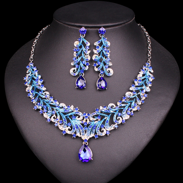 Fashion Indian Blue Rhinestone Wedding Jewelry Sets For Brides Bridal Necklace Earrings Set Party Costume