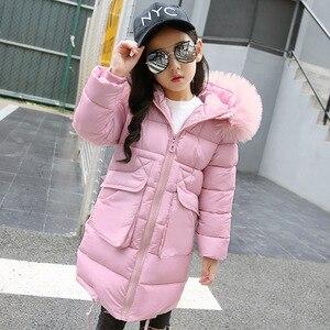 Image 4 -  30องศาเซลเซียสฤดูหนาวหญิงยาวส่วนเสื้อเด็กBig Furแจ็คเก็ตอุ่นเสื้อเด็กHooded Windproofเสื้อ