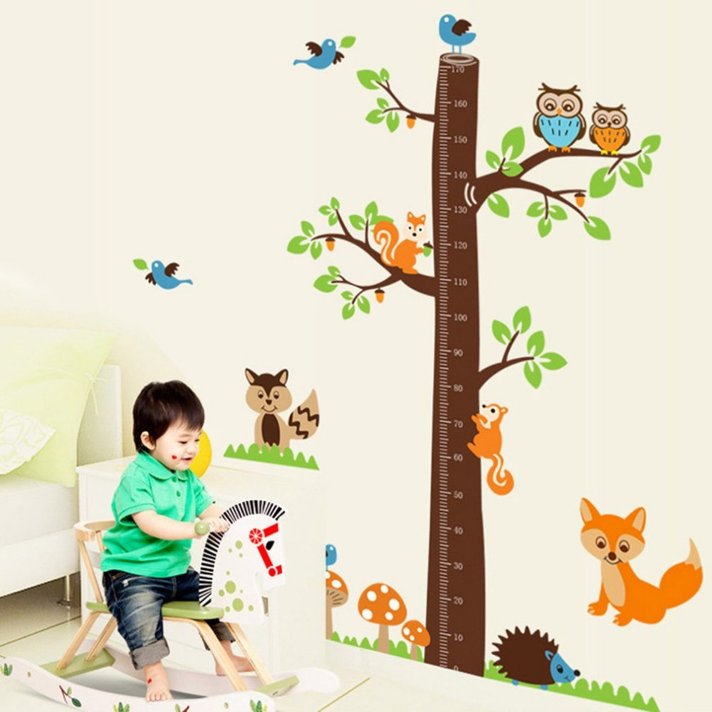 Cute owl squirrel bird cartoon height measure wall stickers animal large size 7080cm music sticker music is my life theme music bedroom decor guitar pattern vinyl removable wall sticker newusd 281piece geenschuldenfo Choice Image