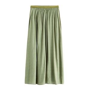 Image 5 - Inman primavera outono inferior impressão elástica império cintura uma linha de cor sólida boêmio uma linha saia