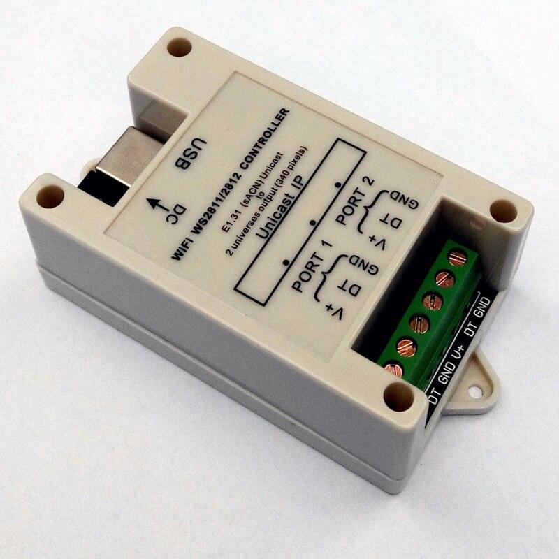 Petit contrôleur WiFi WS2811/WS2812 (DC5V-24V); jusqu'à 340 pixels (sortie 2 univers)