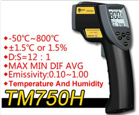 TM750H environmental temperature and humidity infrared thermometer Digital thermometer hygrometer Outdoor thermometer -50C-800C title=