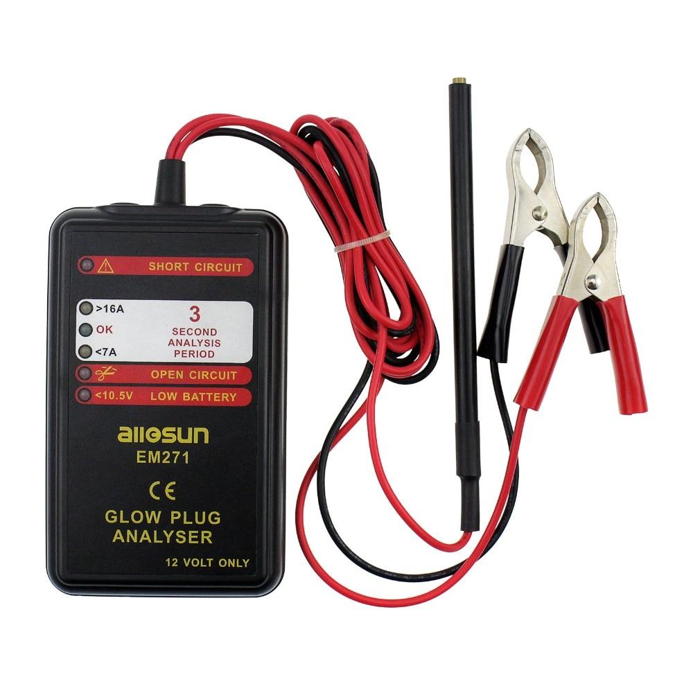 Automotive Glow Plug Analyser Car Engine Tester LED Display Auto Glow Failure Diagnostic Tool 12V Vehicle System All-Sun EM271