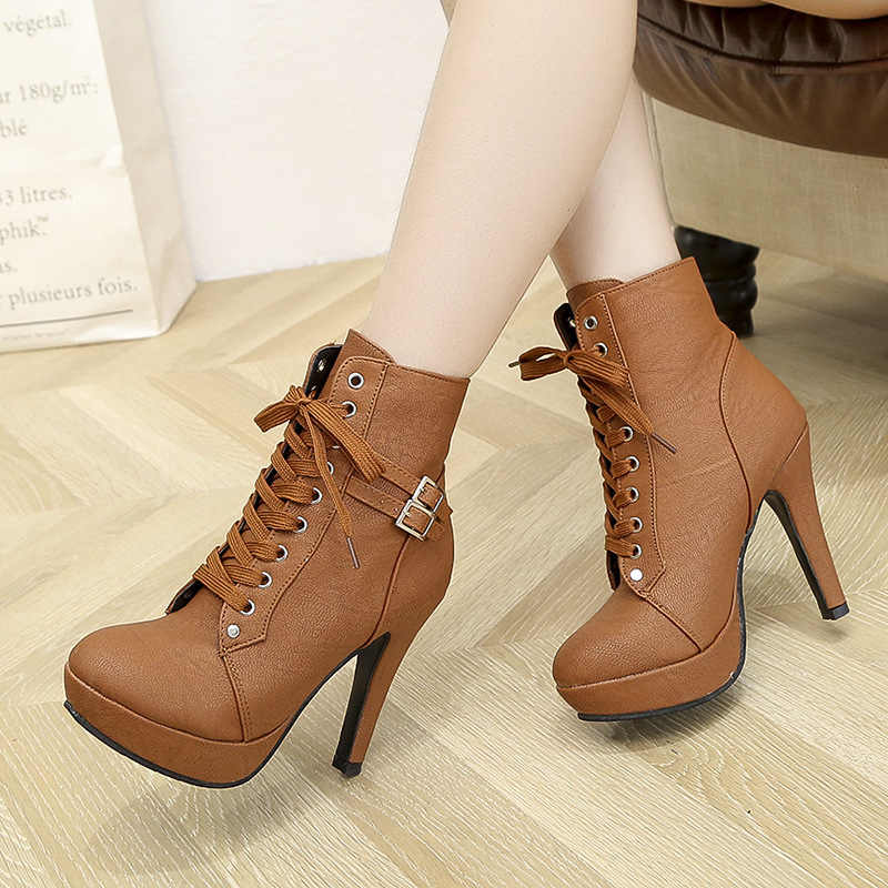 New fashion Women boots High Heels Lace Up Ankle Boots Female Zip Double Buckle Sexy Party Dress Pump Woman Platform Shoes