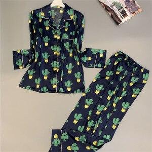 Image 3 - 2019 Satin Pyjamas Women Pajamas Sets with Pants 2019 Flower Print Long Sleeve Silk Sleepwear Pijama Mujer Female Nightsuit
