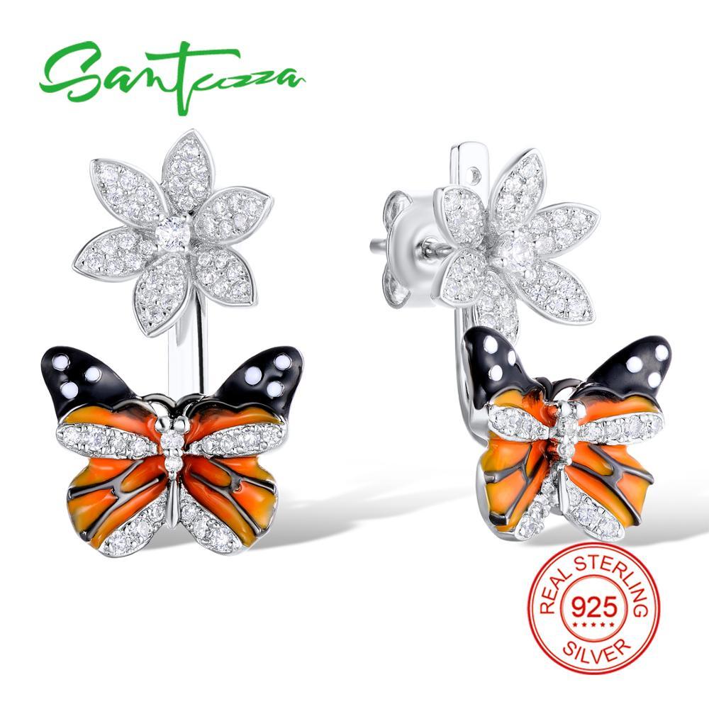 все цены на SANTUZZA Silver Butterfly Earrings For Women 925 Sterling Silver Stud Earrings Silver 925 Cubic Zirconia brincos Jewelry Enamel онлайн