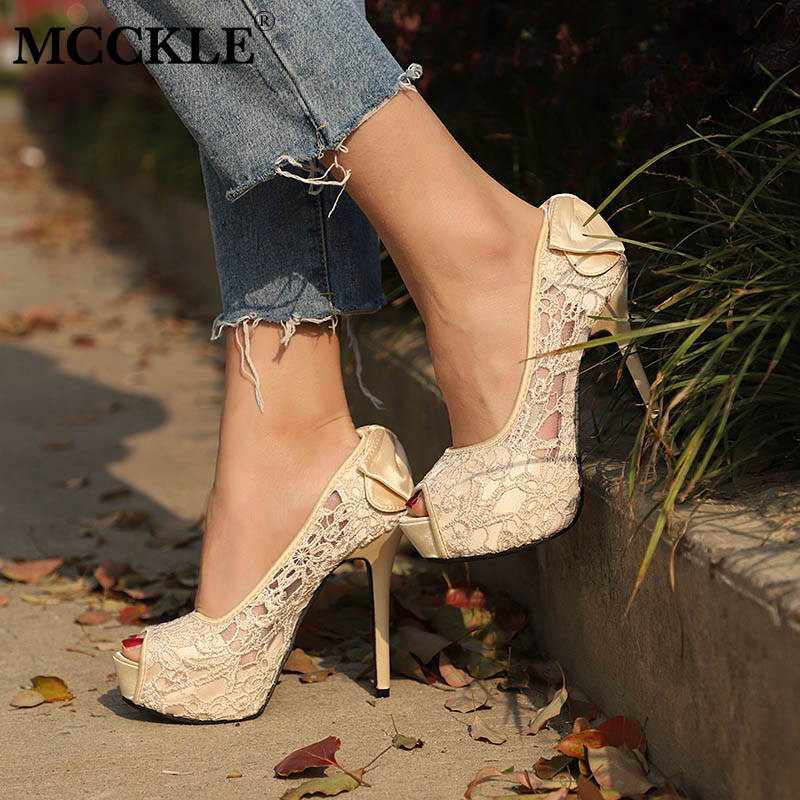 MCCKLE Women Spring Peep Toe Lace Bowtie Pumps Female Hollow Platform High Heel Party Shoes Plus Size Female Elegant Stiletto new design nubuck leather lace up women pumps peep toe hollow out super stiletto high heel shoes multi color optional footwear