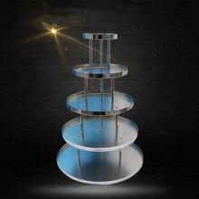 Свадебное вино башня, пять ряды раундов Железный искусства Пирамида бокалов для шампанского, праздничные вечерние поставки