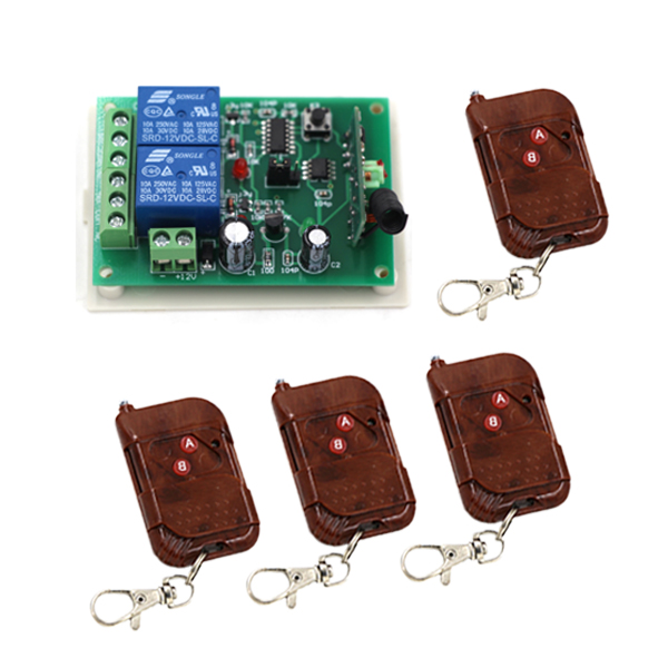 Wireless Remote Control Switch 2CH Receiver 2 Relay RF Remote Controller Switch Teleswitch for Gate/Door + 4 Transmitter 330mhz 8 dip switch 5326 auto gate duplicate remote control
