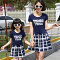Matching Mother Daughter Dresses Cotton Short Sleeve Plaid Dress Family Matching Clothes For Summer Kids Girls Casual Dress