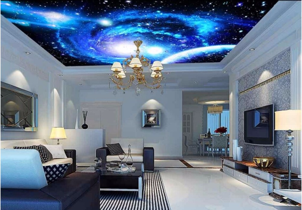 3d ceiling murals wallpaper custom photo non-woven starry sky universe planet painting 3d wall murals wallpaper for living room