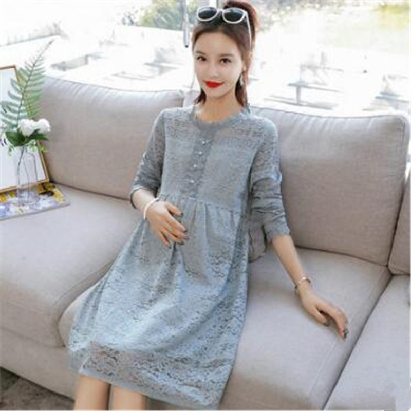 SexeMara 2018 New Style Fashion Maternity Clothes Dress For Pregnant Mommy Spring&Autumn Women Lace Dress Skirt Soft Material women work dress longsleeve spring new european station grid pencil skirt fake two professional dress l13