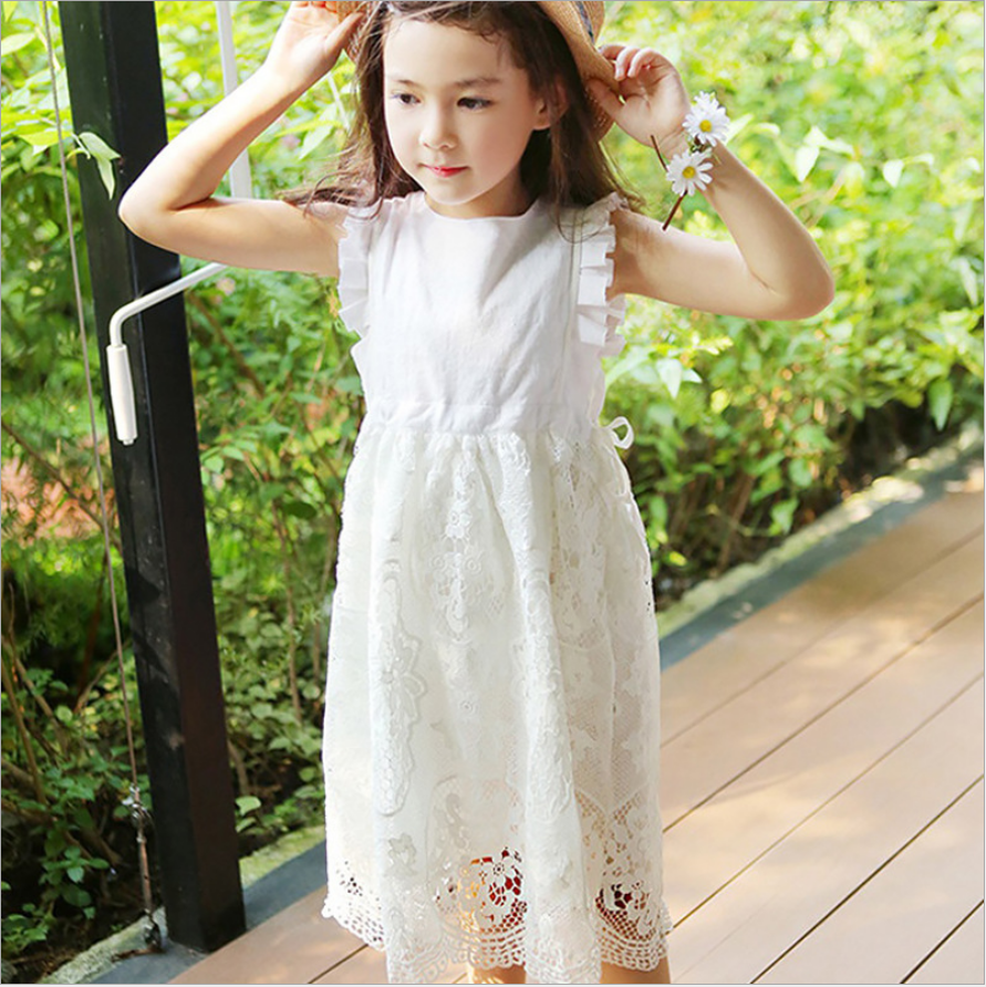 Summer Girls Dress Crochet Solid Color Children Dresses Without ...