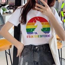 Lesbian Lgbt Harajuku Ullzang T Shirts Women 90s Gay Pride Graphic T-shirt Rainbow Cartoon Print