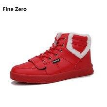 Fine Zero man red black grey Winter Fur Plush Warm High Top Shoes Male  Autumn Casual Ankle Boot Man Winter Super Warm Botas