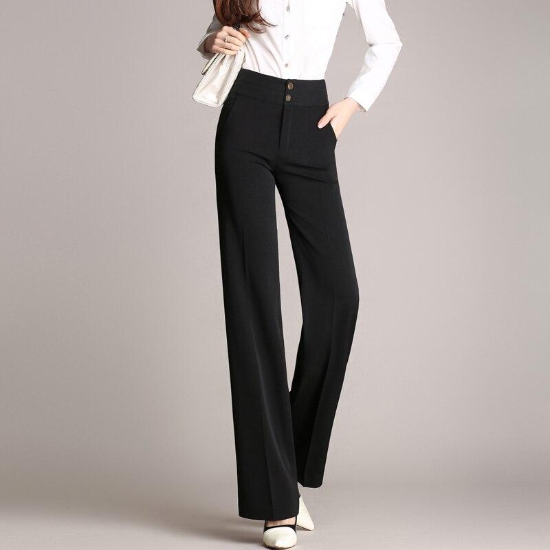 azul Cintura 6xl Más Otoño Rectos Primavera Negro Formales Alta Pantalones De S Mujer Negro Tamaño rojo 46x1zdUUqw