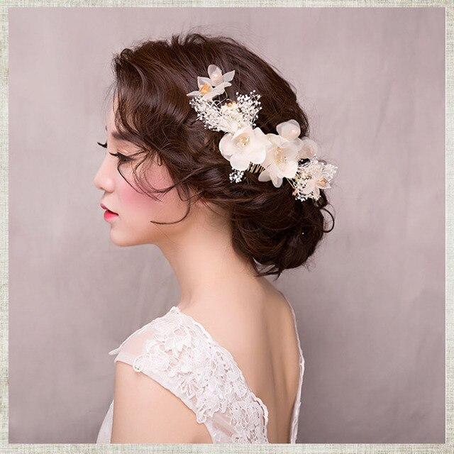 Романтические свадебные Женские аксессуары для волос для невесты целомудренной цветы гребень для волос с кристально заколки Наборы для ухода за кожей цветок белый диадемы ювелирных изделий