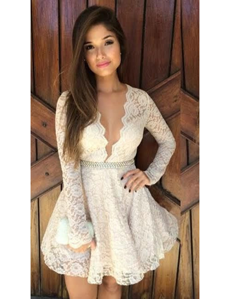 Simple deep v neck lace graduation dresses long sleeve short prom simple deep v neck lace graduation dresses long sleeve short prom girl dresses with beadings high v neck pure hot sale 2017 in homecoming dresses from ombrellifo Image collections