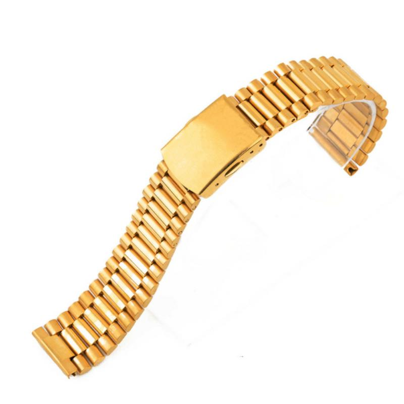 Shellhard Stainless Steel Buckle Straight End Watch Strap Band Bracelets For Mens Women 12 14 16 18mm Sliver Gold Relojes Hombre watch band 22mm new mens black pure polished solid stainless steel watch bands strap bracelets free shipping
