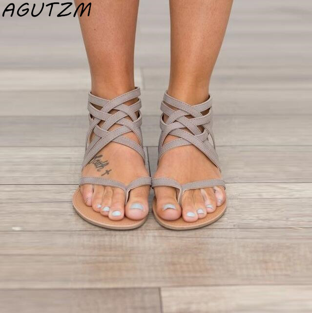 AGUTZM Plus Size 34-43 Flats Summer Womens Sandals 2018 New Fashion Casual Shoes For Woman European Rome Style Sandalias