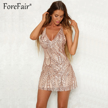Forefair Sequin Dress Sexy Backless V Neck Strap Dress Women Night Clubwear Party  Dresses Black Red Gold Sequined Mini Dress 92ae4458ad69