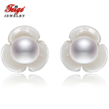 где купить New Design Flower Shell Natural Pearl Earrings for Women Gifts 6-7MM Freshwater Pearl 925 Silver Stud Earring Dropshipping FEIGE дешево