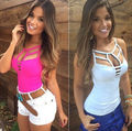 Sexy Top Colete de Verão Sem Mangas das Mulheres Blousa Tops Casual T Camisa Tamanho SL