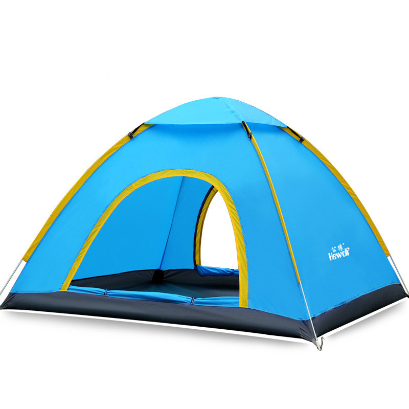 Hewolf Tent Fabric Ultralight 2 Person Layers Aluminum Rod Camping Tent 4 Season Outdoor Throw the double speed to open the tent