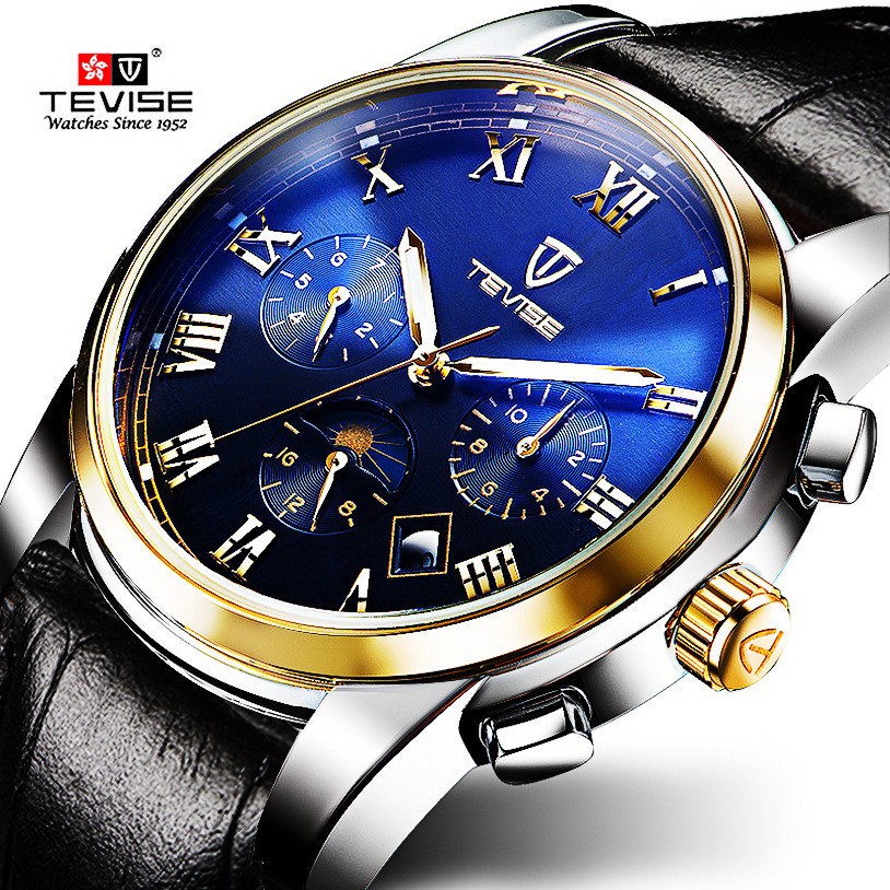 NEW luxury man watches Leather Multi-function Automatic Self-Wind mechanical Wristwatches with waterproof Calendar Luminous 9005 reloj 2017 new design hot sale luxury man s bronze leather band self winding automatic mechanical wrist free shipping 17jan9