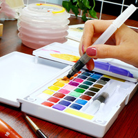 36 Colors Art Solid Pigment Professional Box with Paintbrush Portable Set Portable Colored Pencils for Drawing Paint Watercolors