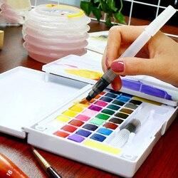 36 cores da arte sólido pigmento caixa profissional com pincel portátil conjunto lápis coloridos para desenho pintura aquarelas