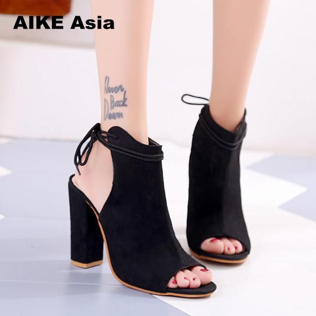 c748d1608f9dc7 Women Pumps Sexy High Heels Sandals Women Summer Suede Plus Size 35-43  Ladies Thick Heel Ankle Strap Open Toe Sandals