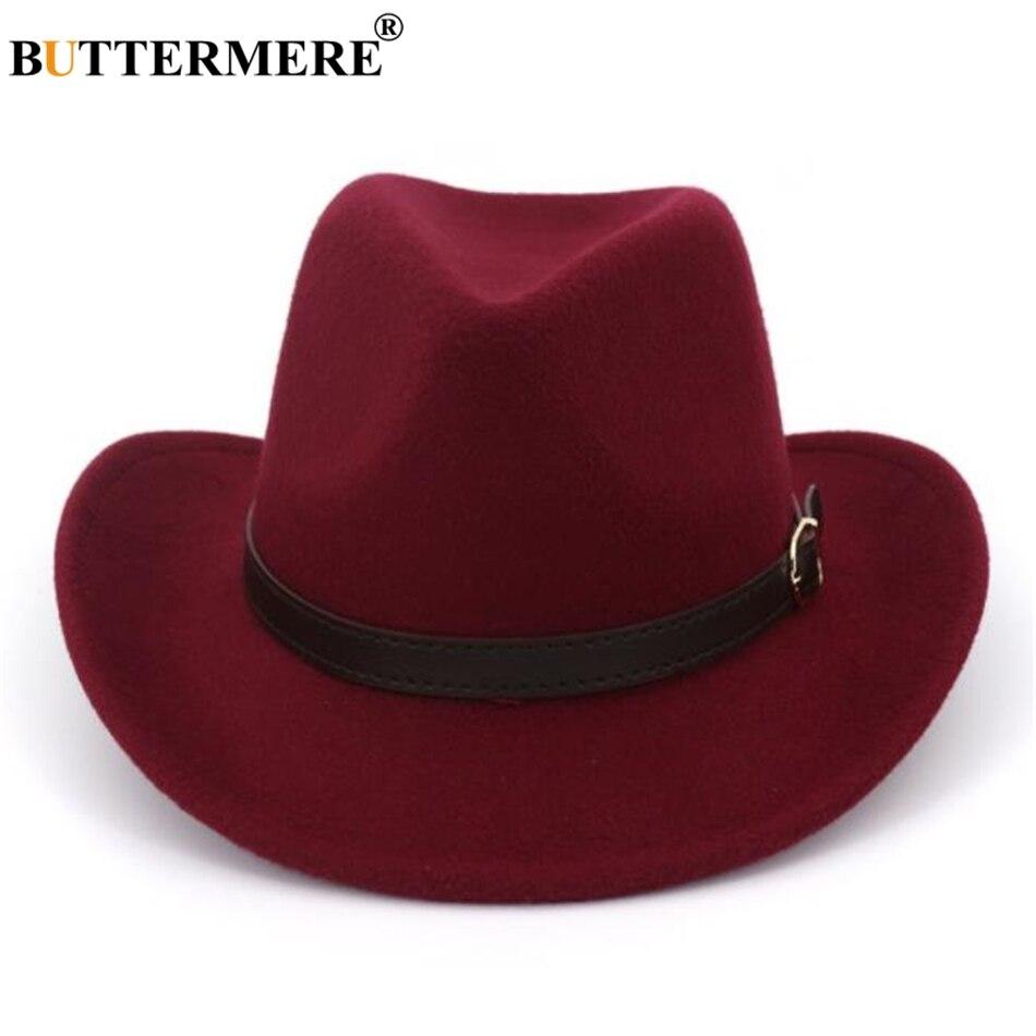 d430df46de4 BUTTERMERE Men Women Hat Cowboy Burgundy Woolen Fedoras Vintage Spring  Autumn 2019 New Brand Male Female